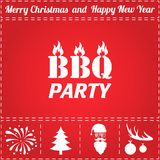 BBQ Icon Vector. And bonus symbol for New Year - Santa Claus, Christmas Tree, Firework, Balls on deer antlers Royalty Free Stock Photos