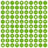 100 BBQ icons hexagon green. 100 BBQ icons set in green hexagon isolated vector illustration stock illustration