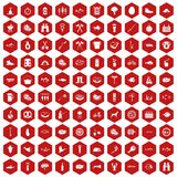 100 BBQ icons hexagon red. 100 BBQ icons set in red hexagon isolated vector illustration Stock Images