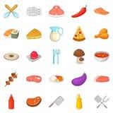 BBQ icons set, cartoon style stock illustration