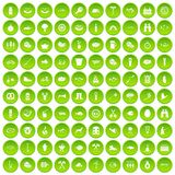 100 BBQ icons set green. 100 BBQ icons set in green circle isolated on white vectr illustration Royalty Free Illustration
