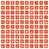 100 BBQ icons set grunge orange. 100 BBQ icons set in grunge style orange color isolated on white background vector illustration Royalty Free Stock Images