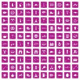 100 BBQ icons set grunge pink. 100 BBQ icons set in grunge style pink color isolated on white background vector illustration Royalty Free Stock Photography