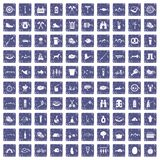 100 BBQ icons set grunge sapphire. 100 BBQ icons set in grunge style sapphire color isolated on white background vector illustration Royalty Free Stock Photography