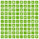100 BBQ icons set grunge green Stock Image