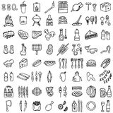 BBQ icons set. Hand-made style, vector illustration Stock Photo