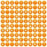 100 BBQ icons set orange. 100 BBQ icons set in orange circle isolated on white vector illustration vector illustration