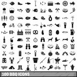100 BBQ icons set, simple style. 100 BBQ icons set in simple style for any design vector illustration Royalty Free Stock Images