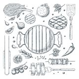 BBQ illustratie van de grill de vectorschets Hoogste geplaatste meningsvoorwerpen, geïsoleerd op witte achtergrond Het ontwerpele vector illustratie