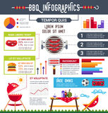 Bbq info poster, brochure with flat icons and inforgrapics Stock Image