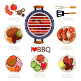 BBQ Infographics. Vector illustration, barbecue elements food Royalty Free Stock Images