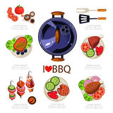 BBQ Infographics. Vector illustration, barbecue elements food Royalty Free Stock Image