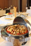 BBQ with kebab cooking. coal grill of chicken meat skewers Stock Photos