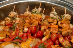 BBQ with kebab cooking grill of chicken meat skewers with  pepp Stock Images