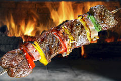 BBQ with kebab. Juicy BBQ with kebab cooking Royalty Free Stock Photos