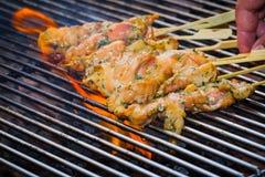 BBQ kurczak na płomieniu Obrazy Royalty Free