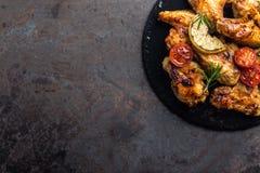 BBQ kurczaka skrzydła, korzenny piec na grillu mięso Obraz Royalty Free