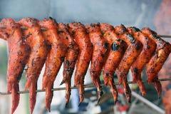 BBQ kurczaka skrzydło na grillu Zdjęcia Stock