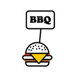 Bbq label hamburger Stock Photography