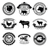 BBQ labels. Set of nine BBQ labels with animals silhouettes stock image