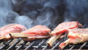 BBQ, lamb chops on grill. Lamb chops on grill outside stock footage