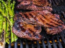 BBQ Lapje vlees en Asperge Stock Fotografie