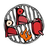 BBQ Lettering on the Grill with Fire. Barbecue Steak Logo. Isolated On a White Background. Realistic Doodle Cartoon Style Hand Dra. BBQ Lettering on the Grill Royalty Free Stock Photography