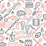 Bbq line black and red seamless pattern Royalty Free Stock Photography