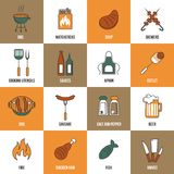 Bbq Line Icons. Bbq grill party utensil flat line icons set with beer chicken salt and pepper vector illustration royalty free illustration