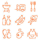 BBQ line icons set on a white background. A set of barbecue icons in a line style. Grill, sausage on a fork, grilled meat, an apron with a toque, fish, oil Royalty Free Stock Images
