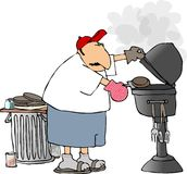 BBQ man. This illustration depicts a man barbequeing hamburgers stock illustration
