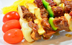BBQ Meal and vegetables. On white Dish Stock Photo