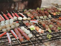 BBQ and meat ball royalty free stock image