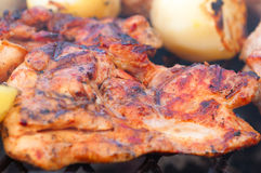 Bbq meat prepare on fire Royalty Free Stock Photos