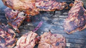 BBQ with meat steaks stock video footage