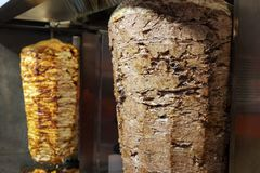 Bbq meat for turkish doner kebab in restaurant in istanbul stock images