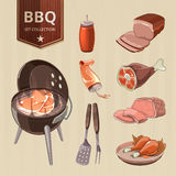 BBQ meat vector elements for vintage Barbecue Stock Photography