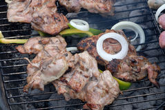 BBQ with meat and vegetables Stock Photo