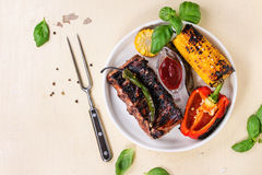 BBQ meat and vegetables Royalty Free Stock Photo