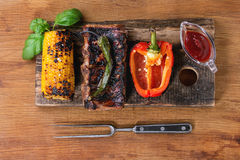 BBQ meat and vegetables Stock Photo