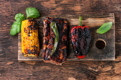 BBQ meat and vegetables Royalty Free Stock Photography