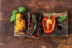 BBQ meat and vegetables Royalty Free Stock Image