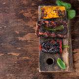 BBQ meat and vegetables Stock Images