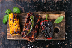 BBQ meat and vegetables Stock Photography
