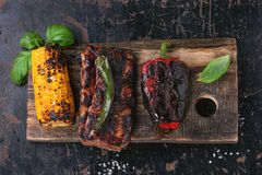 BBQ meat and vegetables Stock Photos