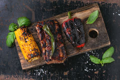 BBQ meat and vegetables Stock Image