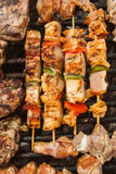 Bbq meat with vegetables on stick Stock Photography