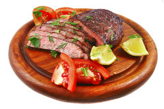 Bbq meat on wood shelf. Ready to eat stock photos