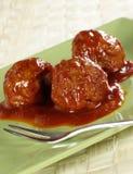 bbq-meatballssås Fotografering för Bildbyråer
