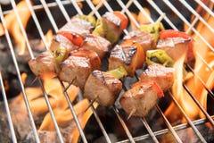 BBQ med matlagning kolgaller av fegt kött och peppar royaltyfria foton